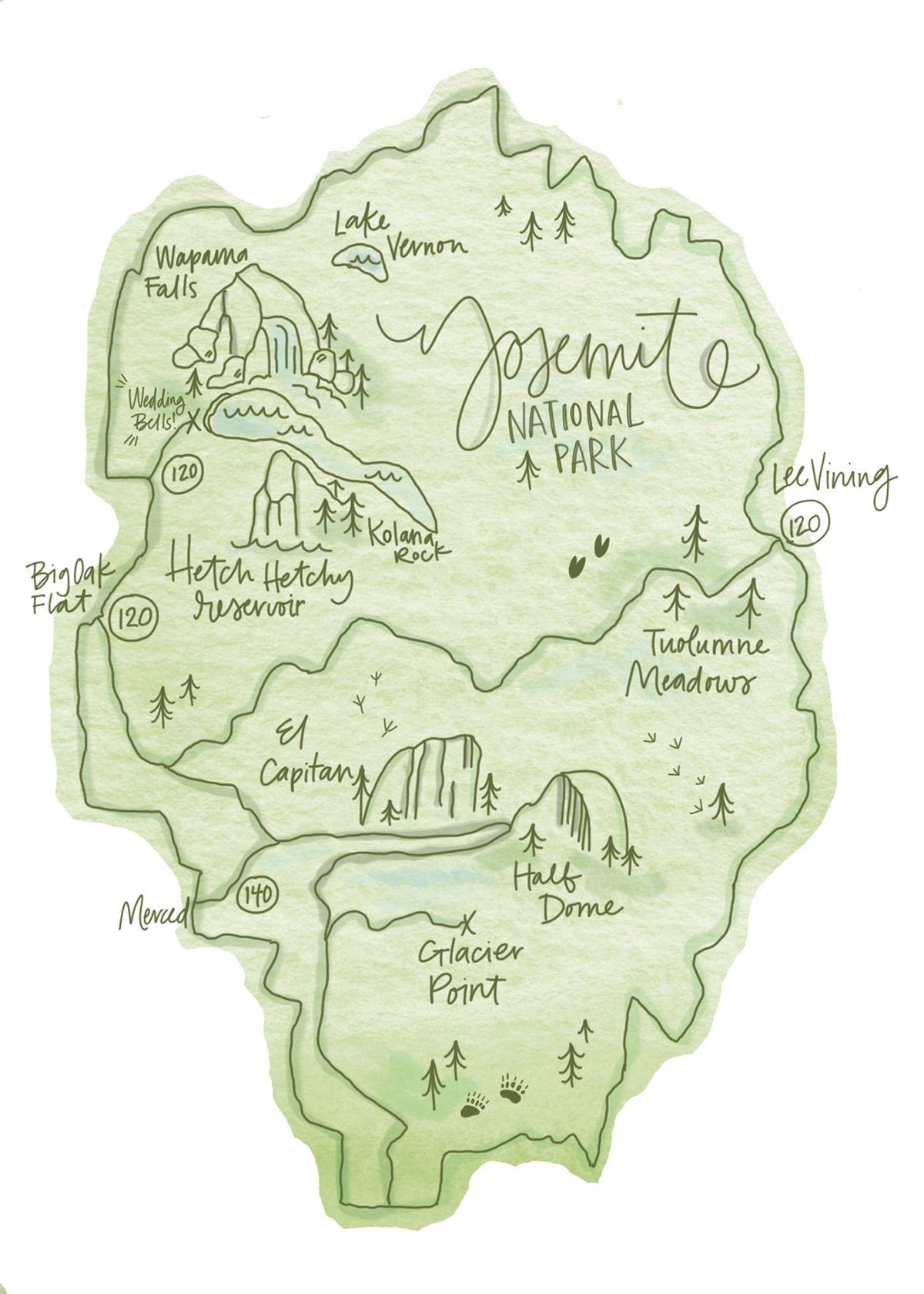 Yosemite National Park Map on Behance | USA | Pinterest | Yosemite ...