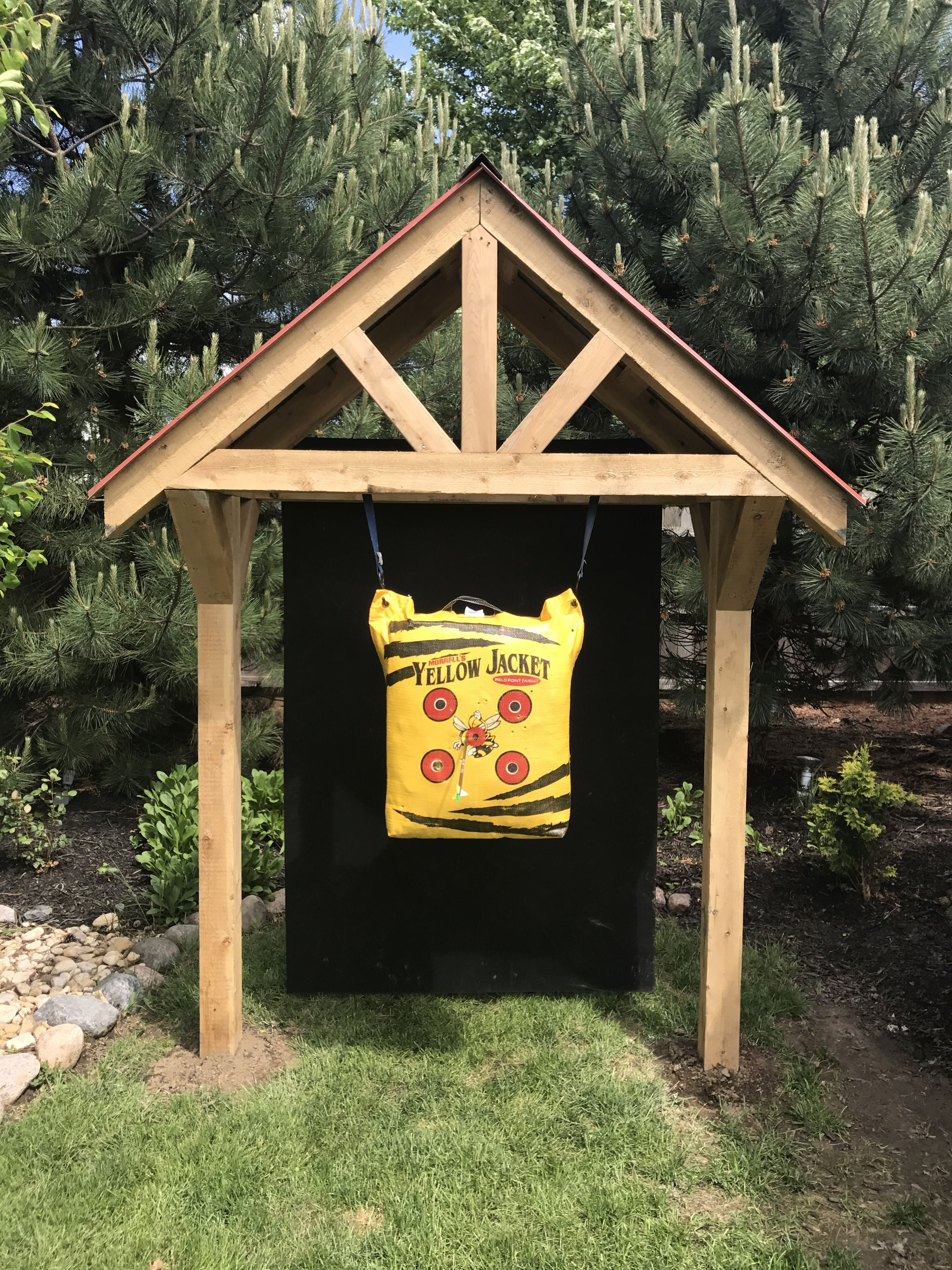 We Had This Frame W A 5x6ft Opening Made For Our Bow Target Hung A 4x6ft Horse Mat From The Back W Large Archery Target Diy Archery Target Traditional Archery Diy backyard archery range