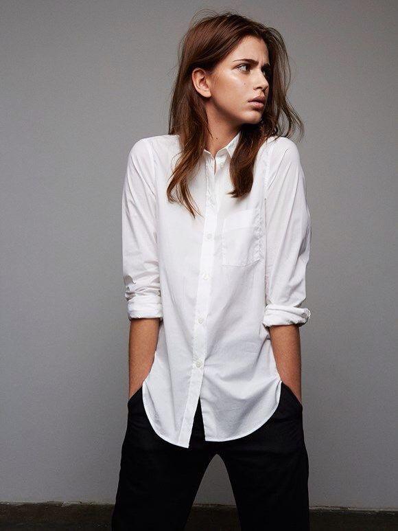 Fashion week Remix: Style white button-down shirt, black trousers for woman