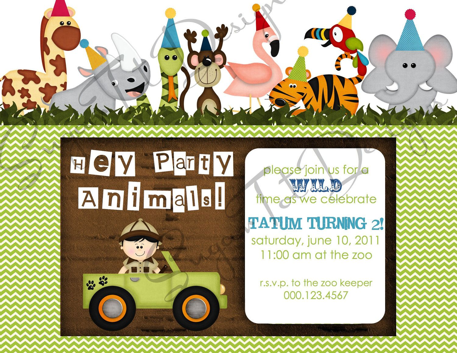Zoo Jungle Safari Themed Party Animals Birthday Invitation via