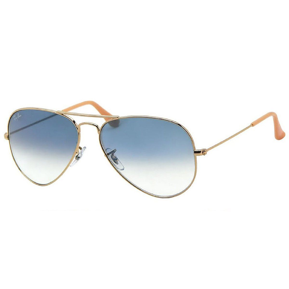 ray ban aviator gold frame blue gradient lens