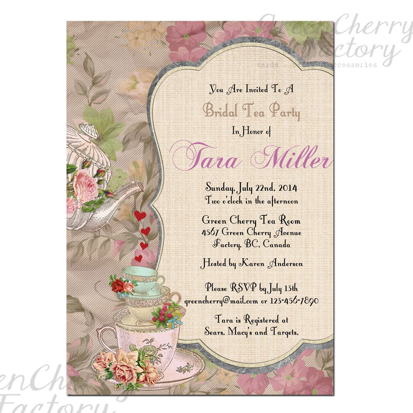 High tea baby shower invitation templates juvecenitdelacabrera high tea baby shower invitation templates shabby spring bridal shower high tea invite baby shower tea party stopboris Images