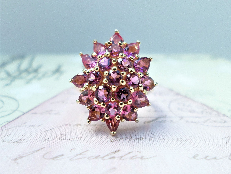 14k Gold Ladies ring pink tourmaline and white sapphire size 11 Genuine Gems