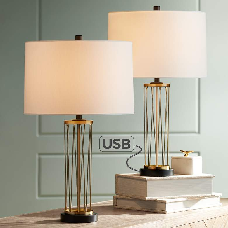 Nathan Gold Cage Usb Table Lamps Set Of 2 36w47 Lamps Plus Gold Table Lamp Modern Table Lamp Lamp Sets