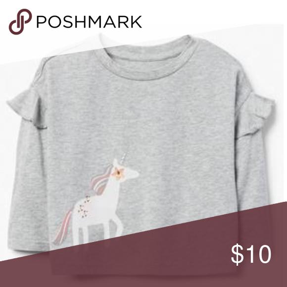 Gymboree NEW//NWT Girls Long sleeve Grey Unicorn Top//T-shirt size 2T