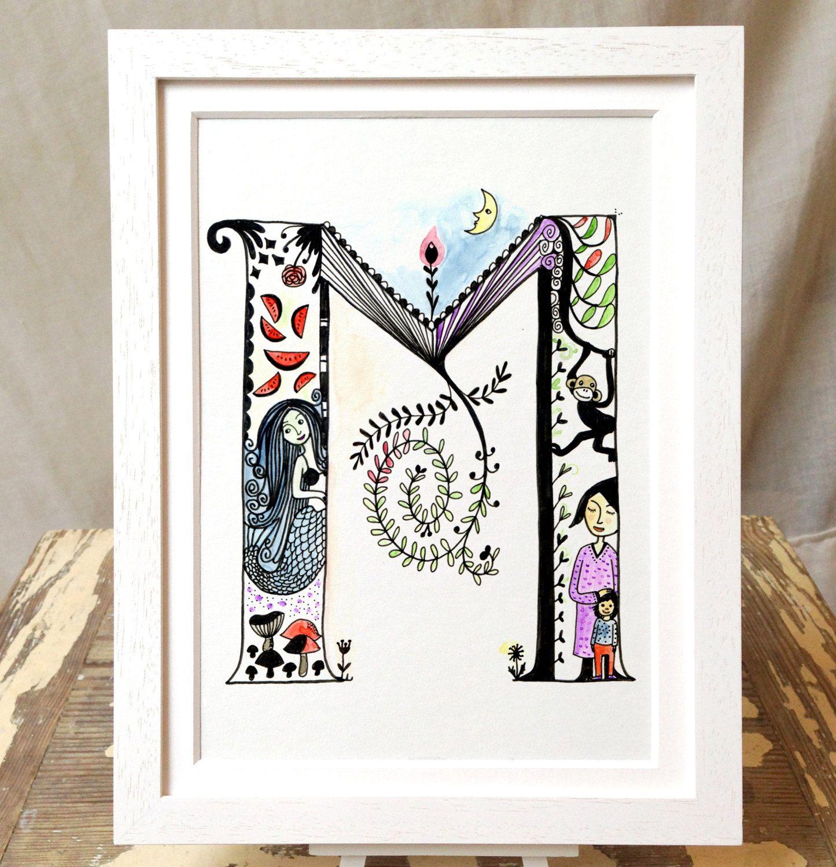 M, kid's ABC, illustrated letter M, wall art, kid's room, Nursery Art, Baby Nursery Decor von littleberlingirl auf Etsy