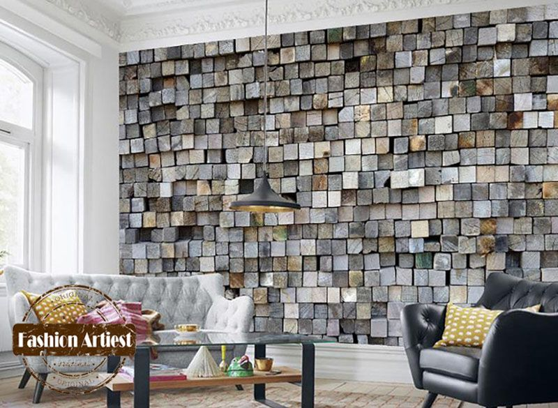 Custom Modern 3d Wallpaper Mural Vintage Embossed Wood Stick Wall Tv Sofa Bedroom Living Room Cafe