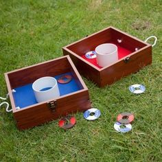 Washers, great camping game! one of my favorites. need to get a set like this that clips together and has ropes for carrying :)