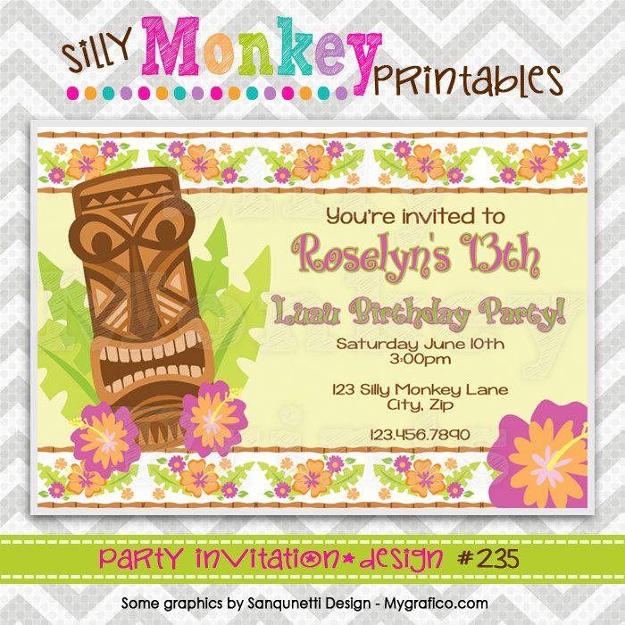 235: DIY - Luau Tikki Party Invitation Or Thank You Card. $12.95, via Etsy.