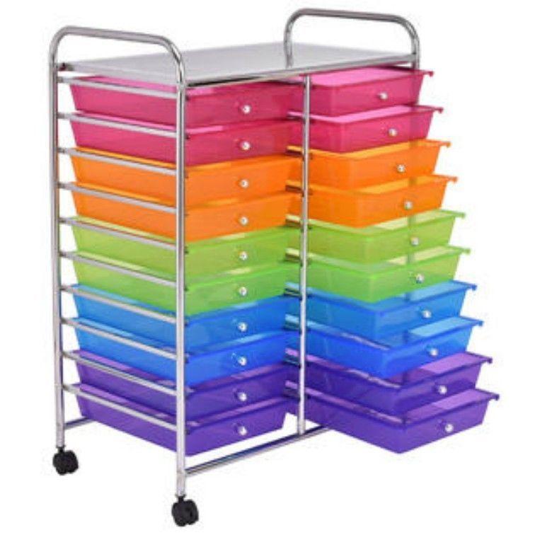 20 Drawers Rolling Cart Storage Scrapbook Paper Studio Organizer