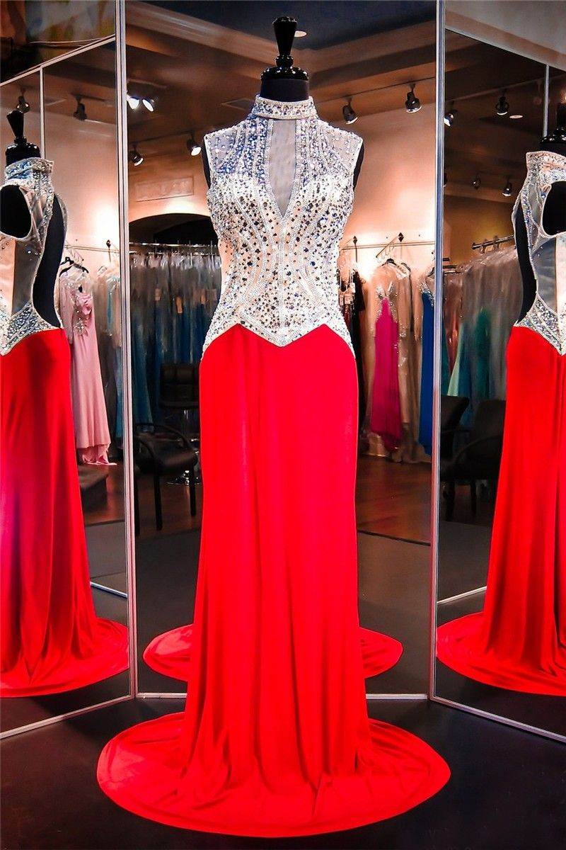 Sheath high neck open back red jersey tulle beaded evening prom