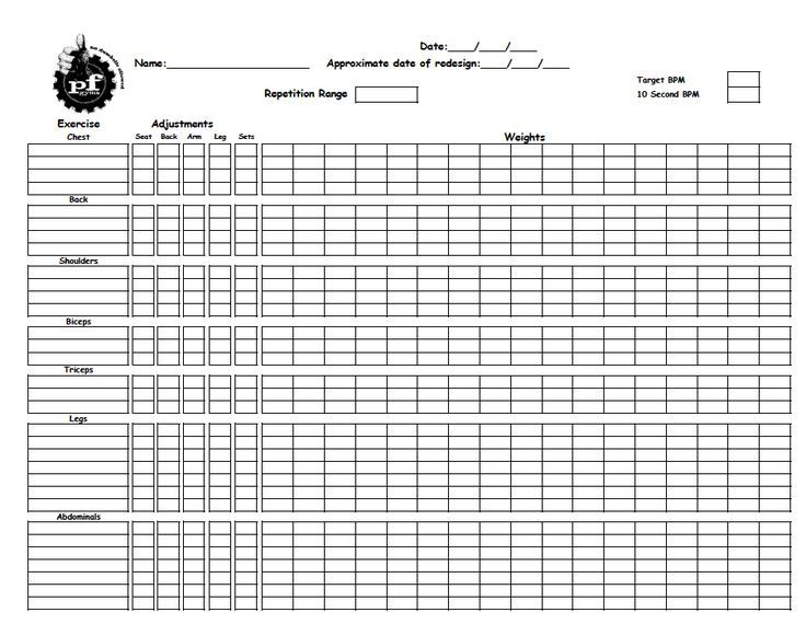 Pin by william bell on workout Workout sheets, Planet fitness