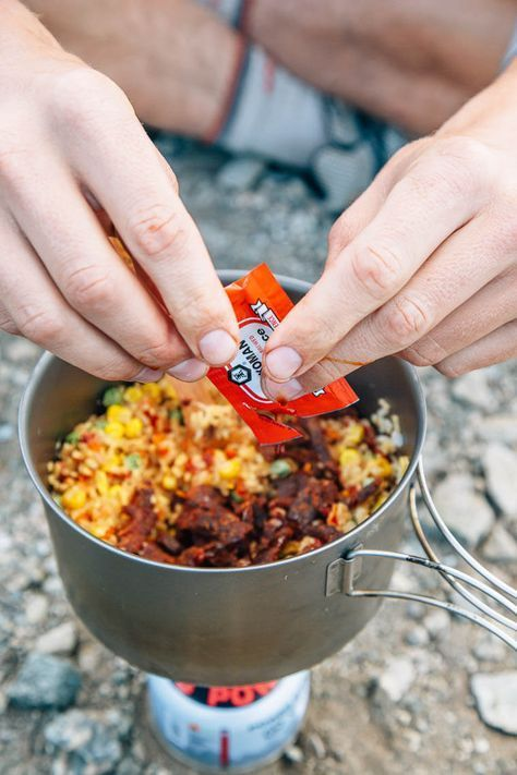 an easy backpacking meal idea fried rice with jerky with just a
