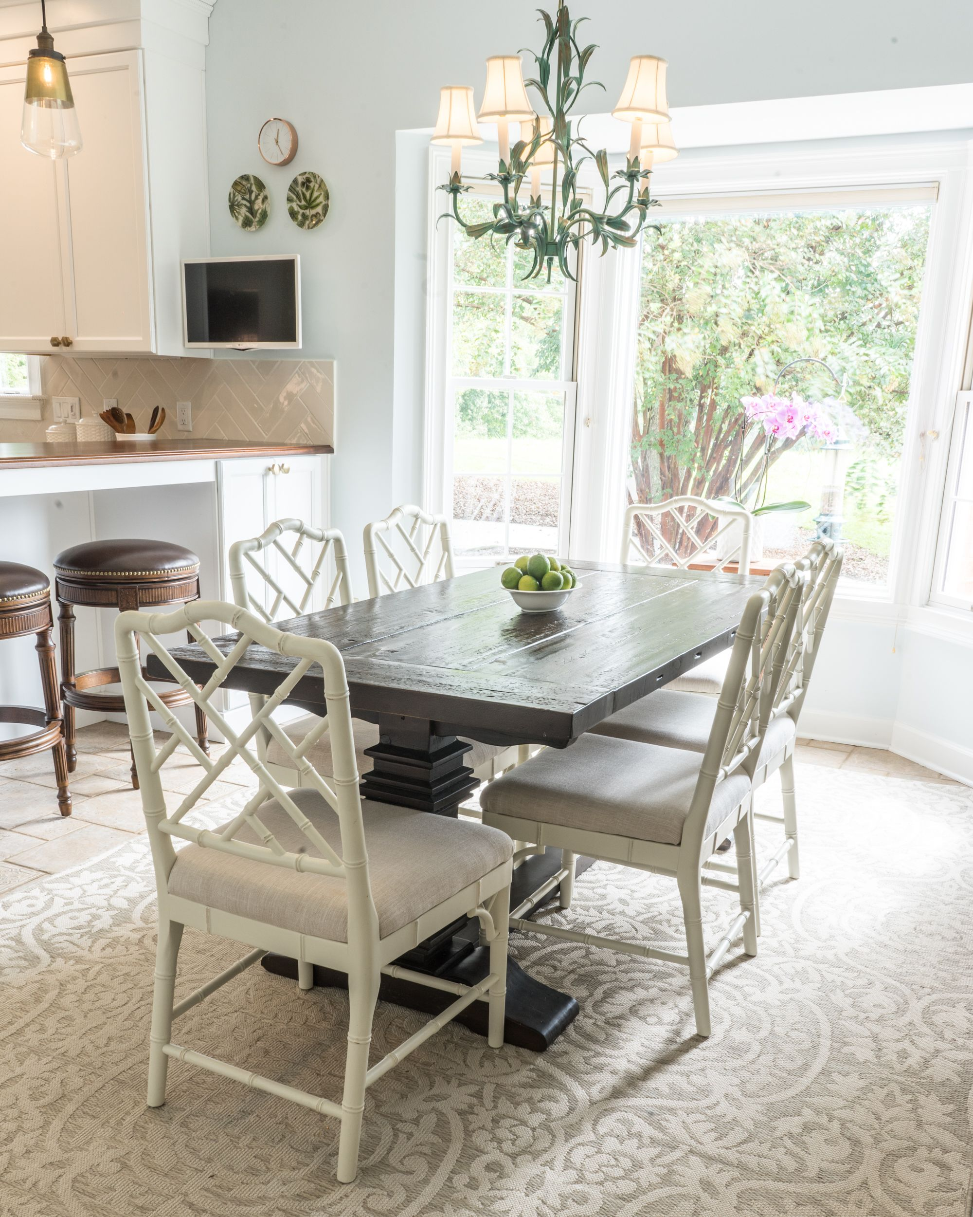 Elegant White Kitchen Dining Room with White and Brown ...