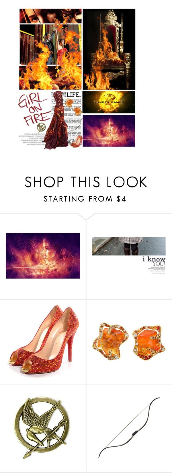 """Hunger Games Style - GIRL ON FIRE -"" by mockingjayafire ❤ liked on Polyvore featuring Christian Louboutin"