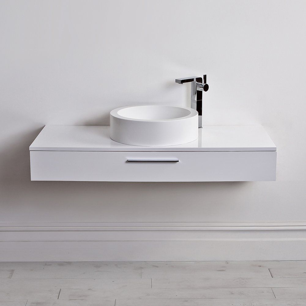 Bathroom vanity basin - Lusso Stone Edge Slim Drawer Wall Mounted Bathroom Vanity Unit Basin 1200