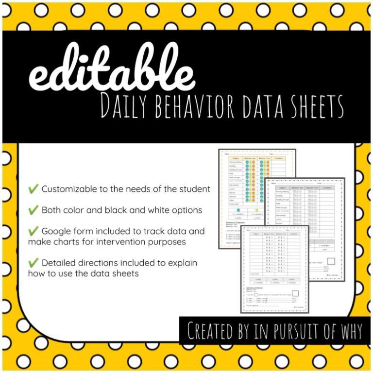 Daily behavior data sheets in 2020 challenging behaviors