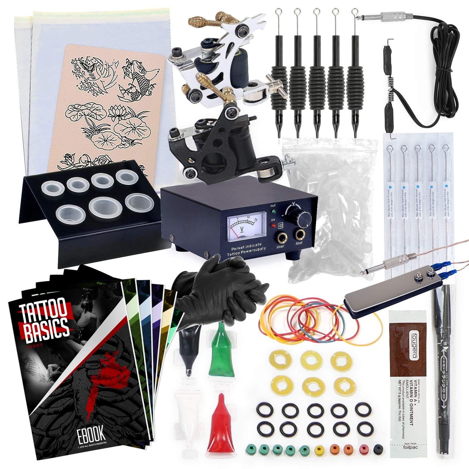 Complete tattoo equipment and supply set tattoo machine