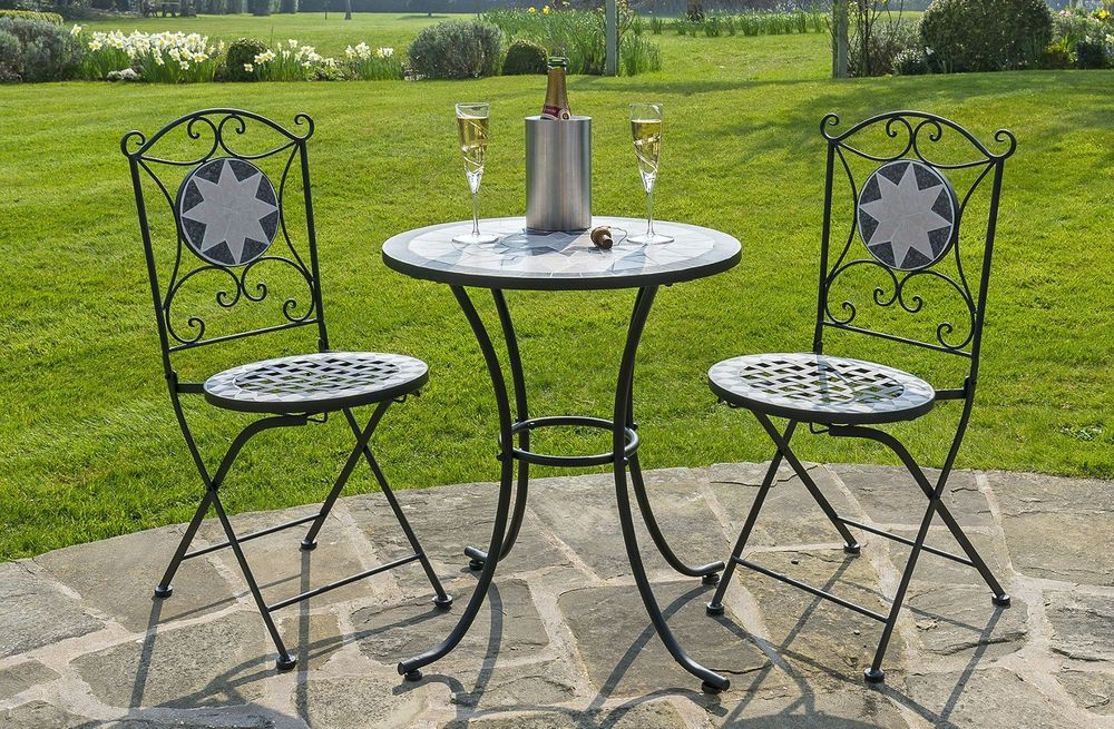 Superbe Garden Bistro Set Patio Yard Cast Iron Table Foldable Chairs Metal Seats  Round
