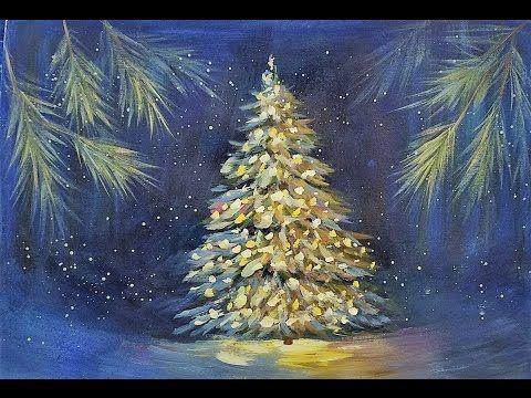 Snowy Christmas Tree Glowing At Night Acrylic Painting Tutorial