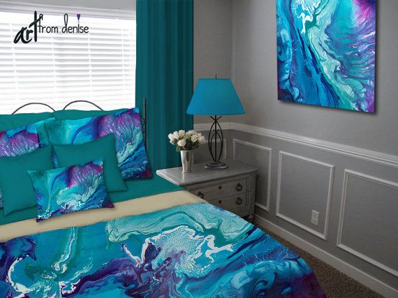 turqouise and purple bedroom color ideas jewel tone bedding featuring abstract artfromdenise colors in