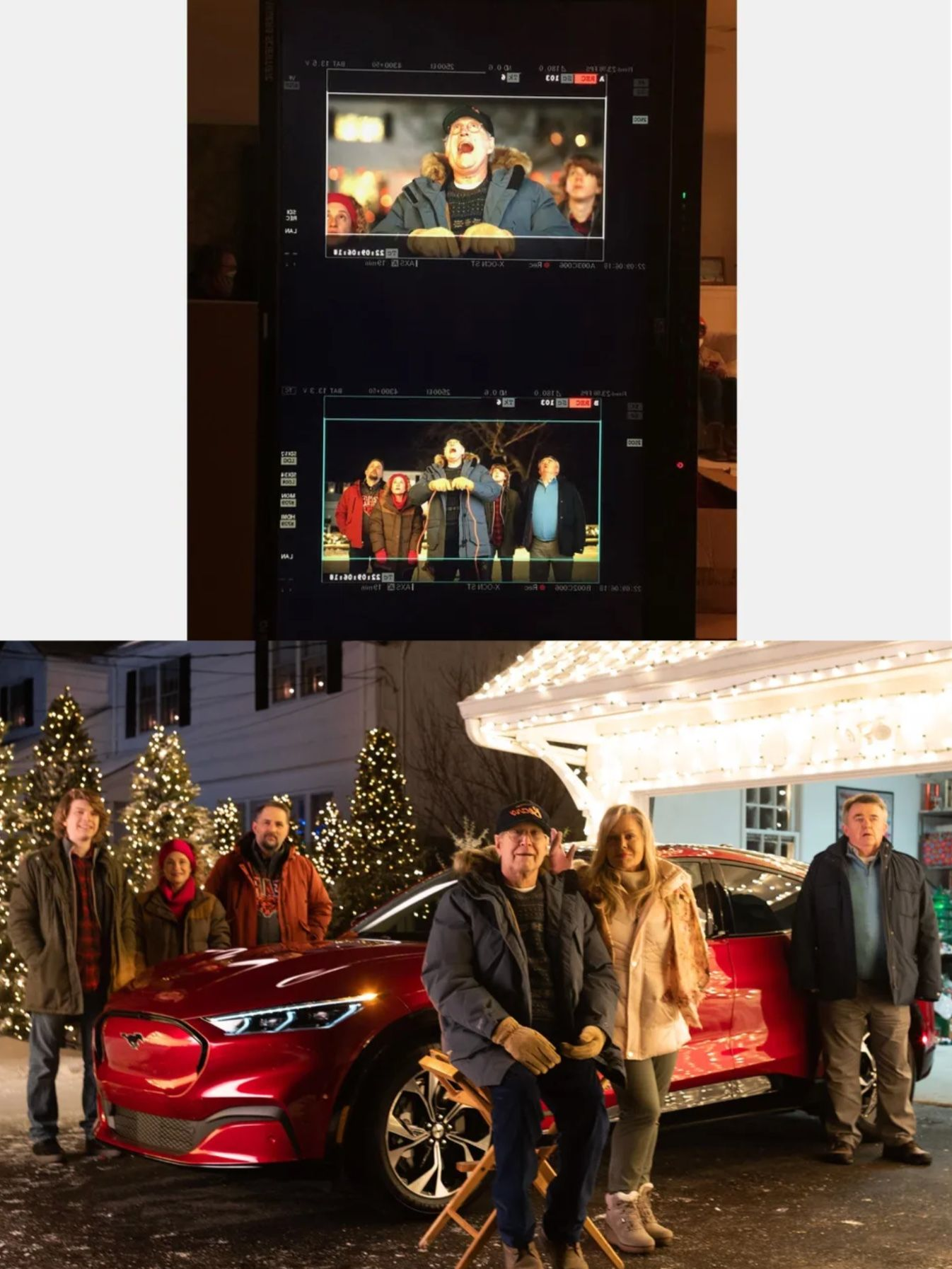 Ford Car Christmas Ads 2021 Behind The Scenes 2021 Ford Mustang Mach E Meets The Griswolds Ford Mustang Mustang Photo