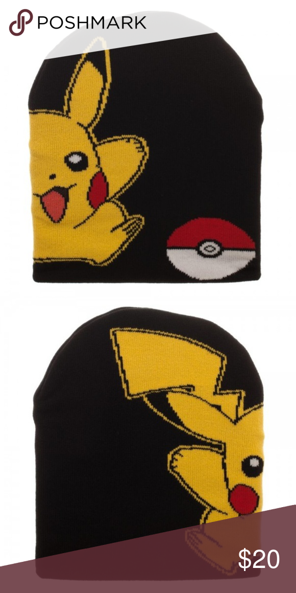 746a3ea7511 Pokemon Pikachu + Pokeball Slouch Beanie Hat Cap This is for 1 Pokemon  themed Slouch-Style Beanie Hat. This slouch-style knit beanie hat is very  light ...