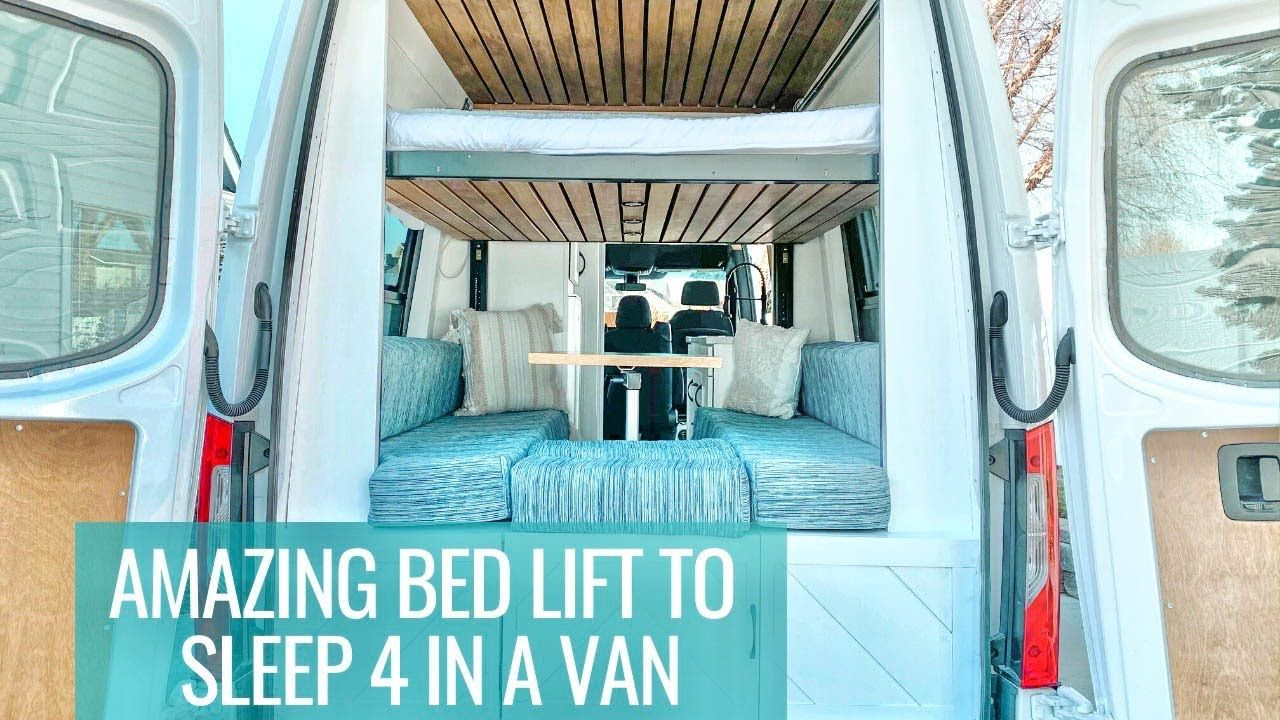 FAMILY VAN TOUR amazing bed lift that sleeps 4 with a