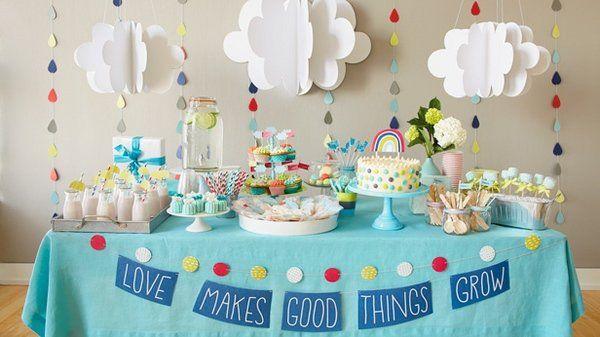 Adorable Baby Shower Theme Ideas Clouds Rain Drops Table Decoration