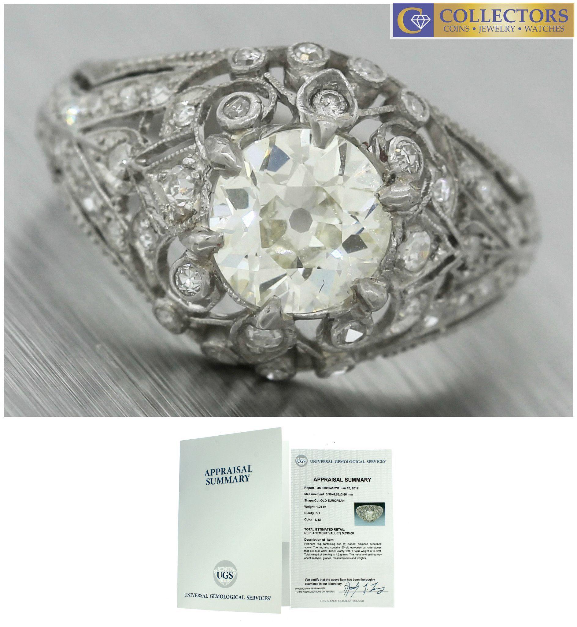 Ladies Antique Art Deco 1 73ctw Diamond Platinum Engagement Accents Ring Egl Usa Antique Engagement Rings Gemstone Engagement Rings Antique Wedding Rings