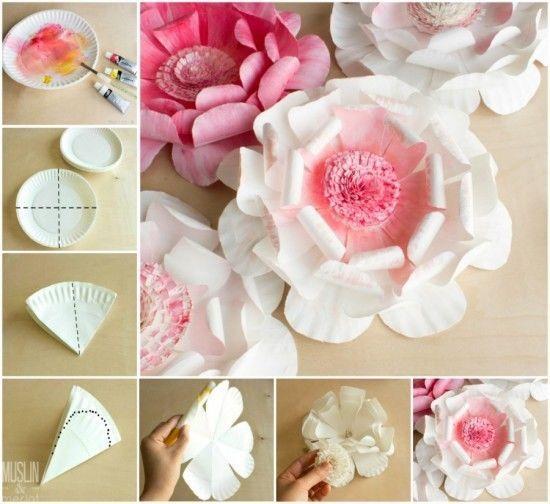 Diy Tutorial Flowers Made From Paper Plates Flowers Diy Handmade