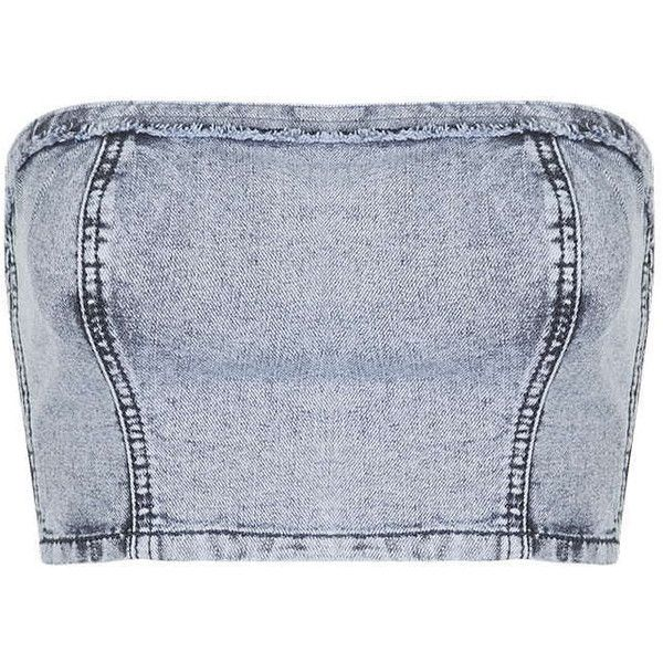c246cdb844806 TOPSHOP MOTO Acid Wash Denim Fray Bandeau ( 12) ❤ liked on Polyvore  featuring tops