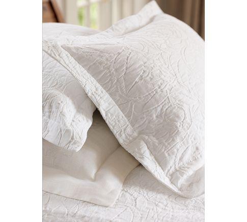 "Pottery Barn /""White Floral/"" Euro Pillow Sham"