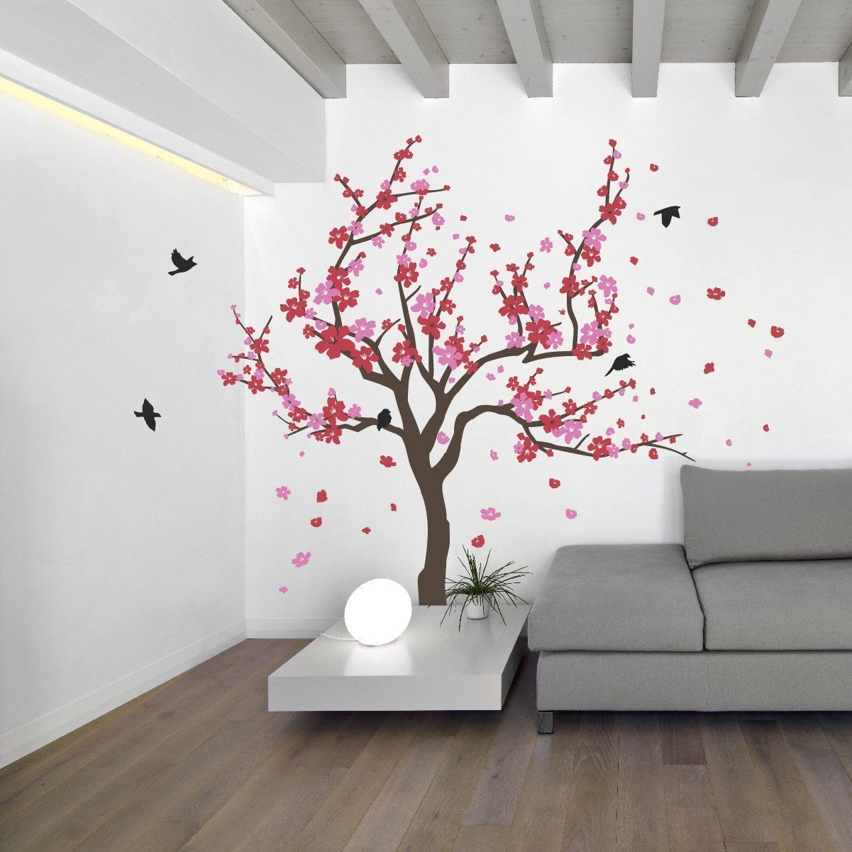 Japanese Cherry Blossom Tree And Birds Wall Decal Sticker For Flower Baby Nursery Room Decor Art Red Pin Tree Wall Decal Tree Wall Murals Tree Wall Painting