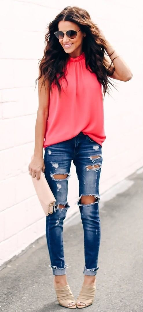 1247b7274f7637 distressed blue denim skinny pants #spring #outfits | Fashion in ...