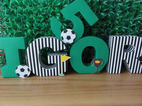 Futbol Soccer · Bernardo · Baby Party · Letras 3d Decoradas Futebol 339ec058b19b6