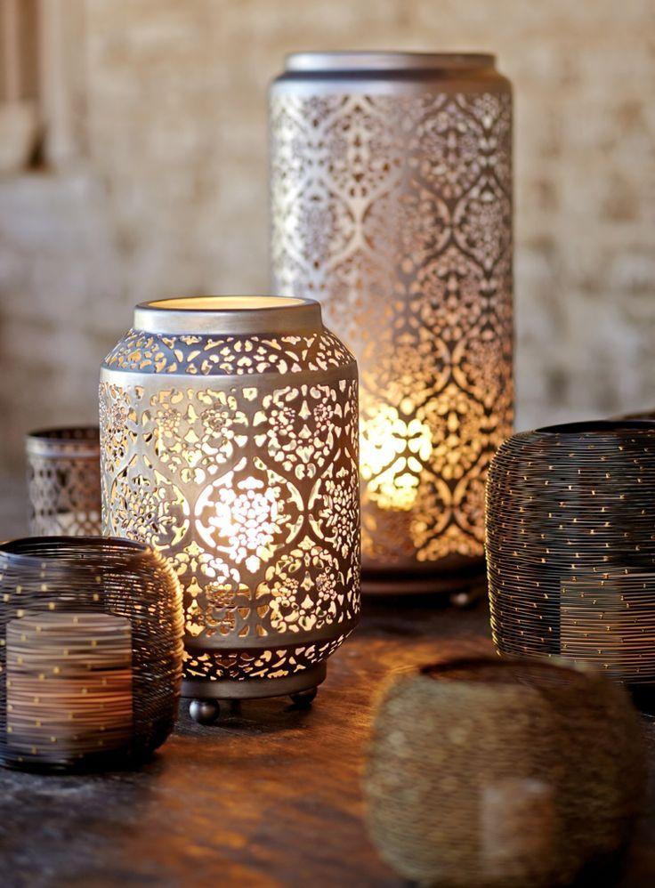 Orientalische Lampen Kerzenhalter Windlichter Gemustert Ornamente Blumen Metall Blumen Gemustert Orientalische Lampen Silberne Tischlampen Orientalisch