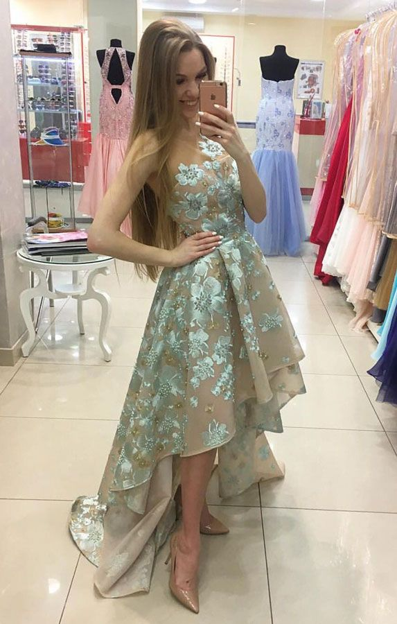 Cute Round Neck Applique High Low Green Prom Dress Cute Formal