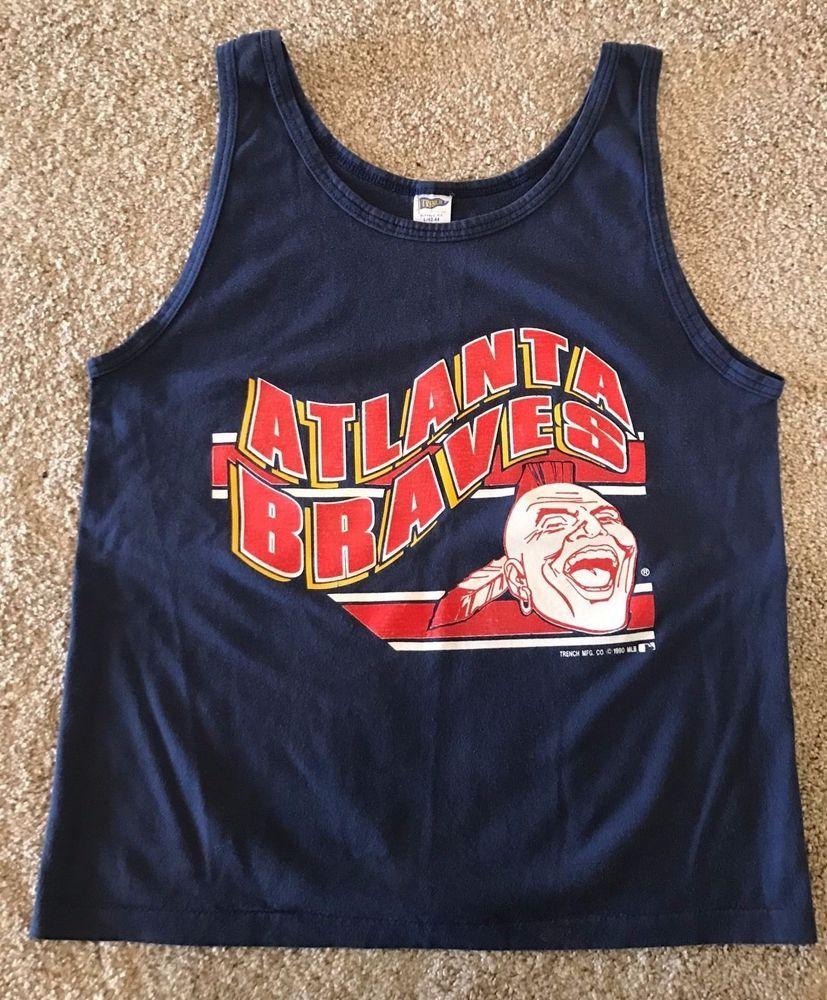 Vintage Mlb Atlanta Braves T Shirt Screaming Indian Baseball Chief Tank Sz L Trench Graphictee Casual Braves Tshirt Atlanta Braves Indians Baseball