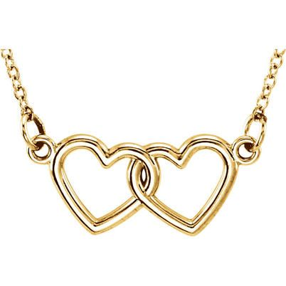 14k Gold Petite Double Heart Necklace