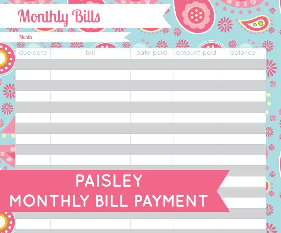 INSTANT DOWNLOAD Monthly Bill Organizer by CitrusPaperCo on Etsy - bill organizer chart
