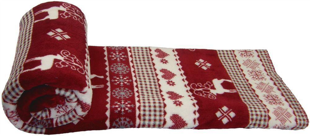 Christmas Reindeer Snowflakes Red White Soft Fleece Throw Blanket Impressive Red And White Christmas Throw Blanket