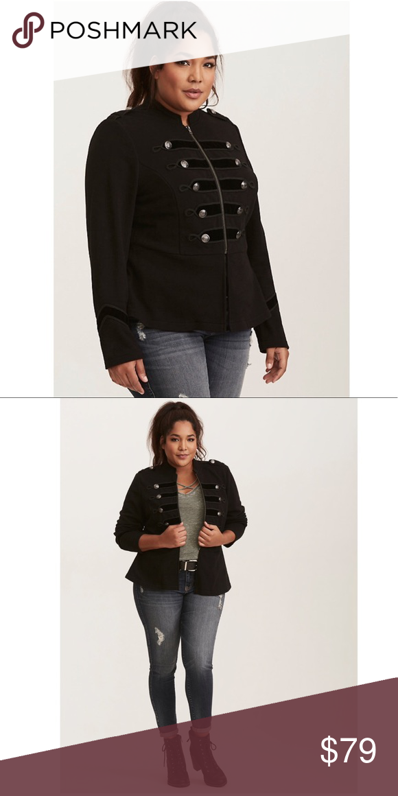 7ea126dce79 NWT Torrid 3x Black Embellished Military Jacket The military trend is  taking orders from you this