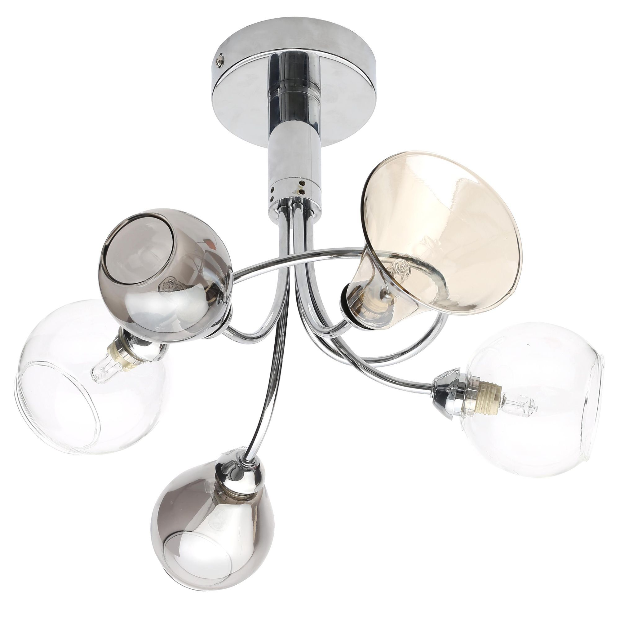 Lilie Chrome Effect 5 Lamp Semi Flush Ceiling Light