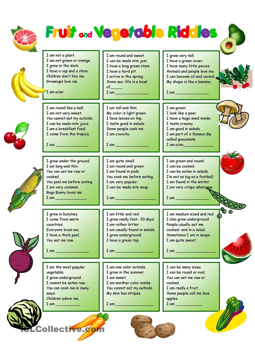 Fruit and Vegetables Riddles with KEY | English worksheets