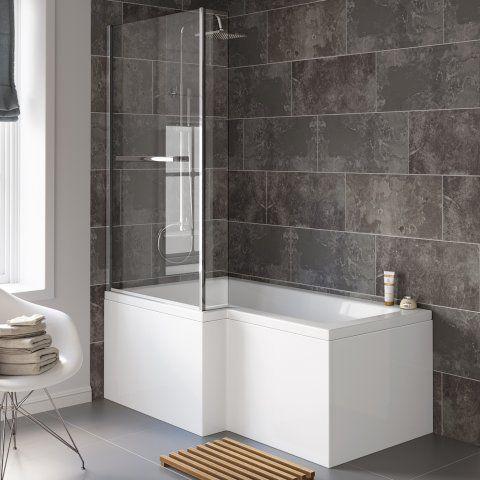 1500x850mm Left Hand L Shaped Bath 6mm Screen Rail Front Pt Bl53 349 99 Platinum Taps Bathrooms L Shaped Bath Shower Over Bath Small Bathroom