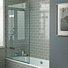 Grey And White Tiles Fired Earth Bath Screens Shower Enclosures Shop By Type Bathrooms