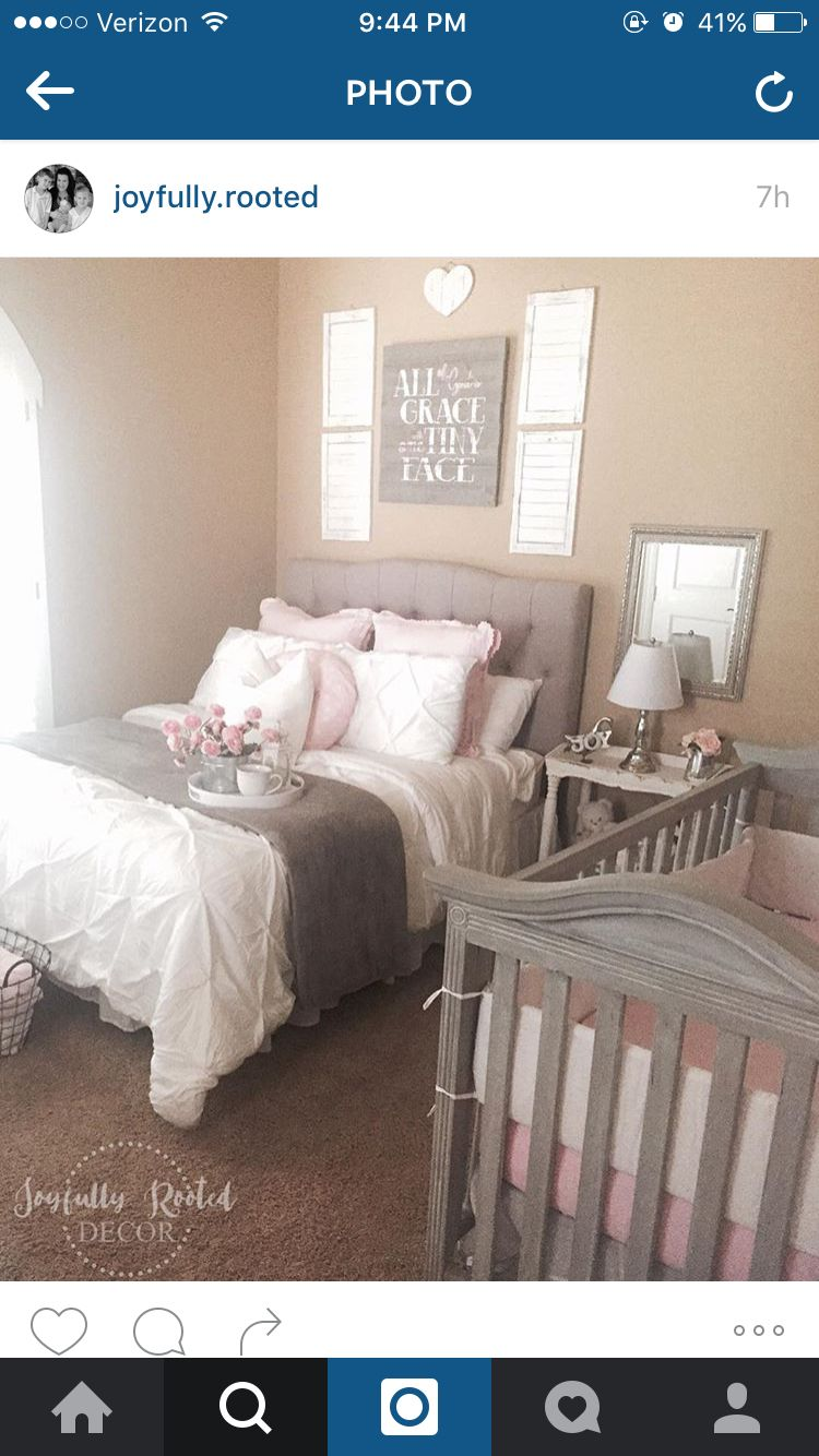 Baby bed by parents bed - Curtains Above Crib See More Nursery Guest Room Combo