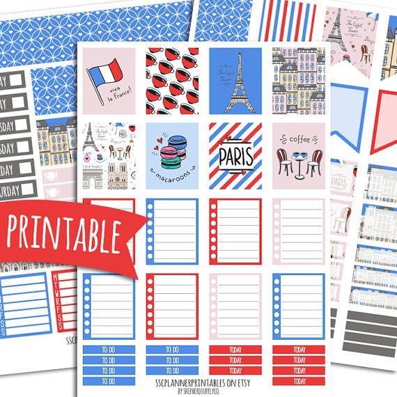 Paris PRINTABLE Planner Stickers for Erin Condren Vertical | Sticker Printables | Happy Planner Stickers | Glam Planning | Travel Stickers