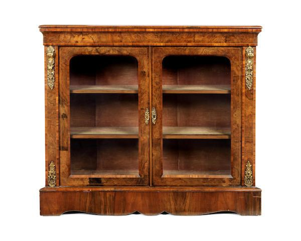 Victorian walnut and tulipwood banded low display cabinet